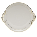 Herend Golden Edge Round Tray With Handles