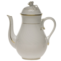 Herend Golden Edge Coffee Pot With Rose