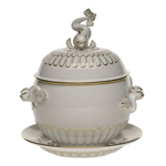 Herend Golden Edge Tureen With Platter