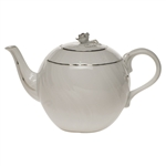 Herend Platinum Edge Tea Pot With Rose