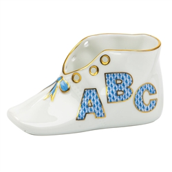 Herend ABC Baby Shoe Figurine Blue Fishnet