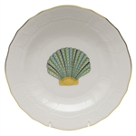 Herend Aquatic Dessert Plate Green Scallop Shell