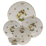 Herend Rothschild Bird Five Piece Place Setting Motif #6