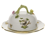 Herend Rothschild Bird Covered Butter Dish