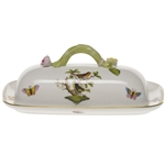 Herend Rothschild Bird Covered Butter Dish With Branch