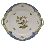 Herend Rothschild Bird Blue Chop Plate With Handles