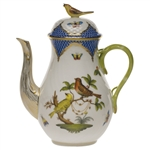 Herend Rothschild Bird Blue Coffee Pot With Bird Top