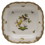 Herend Rothschild Bird Brown Square Fruit Dish