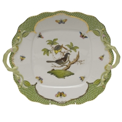 Herend Rothschild Bird Green Square Cake Plate