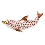 Herend Figurine Playful Dolphin Rust Fishnet