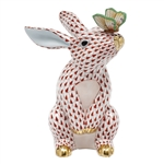 Herend Bunny with Butterfly Figurine Rust Fishnet