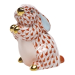 Herend Pudgy Bunny Rust Fishnet