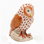 Herend Figurine Barn Owl Rust Fishnet