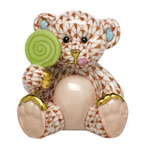 Herend Figurine Sweet Tooth Teddy Bear Rust Fishnet