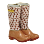 Herend Figurine Rain Boots Rust Fishnet