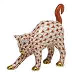 Herend Figurine Arched Kitty Cat Rust Fishnet