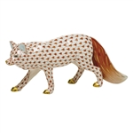 Herend Figurine Observant Fox Rust Fishnet