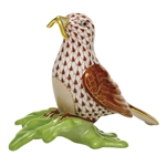 Herend Figurine Early Bird Rust Fishnet