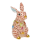 Herend Bunny with Christmas Lights Figurine Rust Fishnet