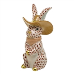 Herend Cowboy Bunny Rabbit Figurine Rust Fishnet