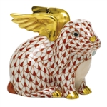 Herend Angel Bunny Rabbit Figurine Rust Fishnet