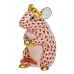 Herend Mouse with Bow Figurine Rust Fishnet