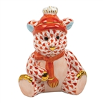 Herend Winter Bear Figurine Rust Fishnet