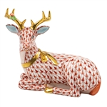 Herend Christmas Deer Lying Figurine Rust Fishnet