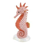 Herend Seahorse on Scallop Shell Rust Fishnet