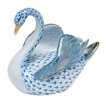 Herend Swan Porcelain Figurine Blue Fishnet