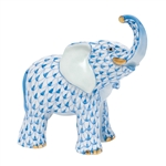 Herend Young Elephant Figurine Blue Fishnet
