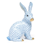 Herend Large Bunny Sitting Figurine Blue Fishnet