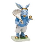 Herend Tennis Bunny Figurine Blue Fishnet
