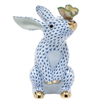 Herend Bunny with Butterfly Figurine Blue Fishnet