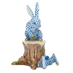 Herend Figurine Down the Bunny Rabbit Hole Blue Fishnet