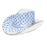 Herend Cowboy Hat Figurine Blue Fishnet