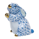 Herend Pudgy Bunny Blue Fishnet