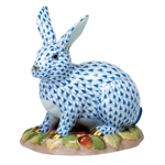 Herend Figurine Berry Bunny Rabbit Blue Fishnet