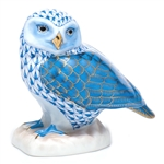 Herend Figurine Burrowing Owl Blue Fishnet