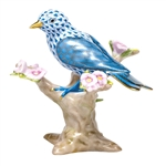 Herend Bird Figurine Mountain Bunting Blue Fishnet