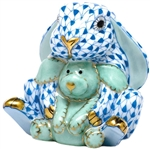 Herend Figurine Bunny Rabbit and Lovey Blue Fishnet