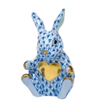 Herend Figurine Sweetheart Bunny Rabbit Blue Fishnet