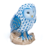 Herend Figurine Barn Owl Blue Fishnet