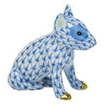 Herend Figurine English Bull Terrier Puppy Blue Fishnet