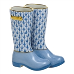 Herend Figurine Rain Boots Blue Fishnet
