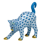 Herend Figurine Arched Kitty Cat Blue Fishnet