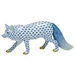 Herend Figurine Observant Fox Blue Fishnet