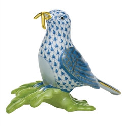 Herend Figurine Early Bird Blue Fishnet
