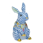 Herend Bunny with Christmas Lights Figurine Blue Fishnet