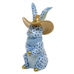 Herend Cowboy Bunny Rabbit Figurine Blue Fishnet